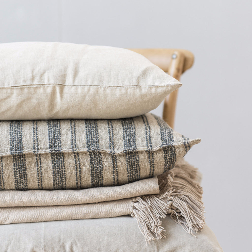 Linen Cushions - Natural with Dark Grey Stripes