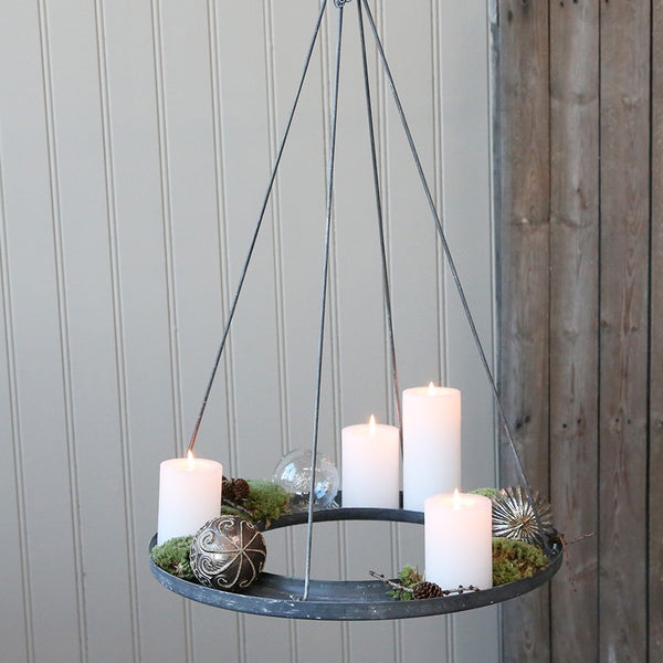 Hanging Zinc Wreath for Pillar Candles - Two Sizes - Greige - Home & Garden - Chiswick, London W4