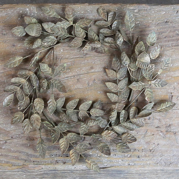 Antique Bronze Metal Leaf and Cone Wreath - Greige - Home & Garden - Chiswick, London W4