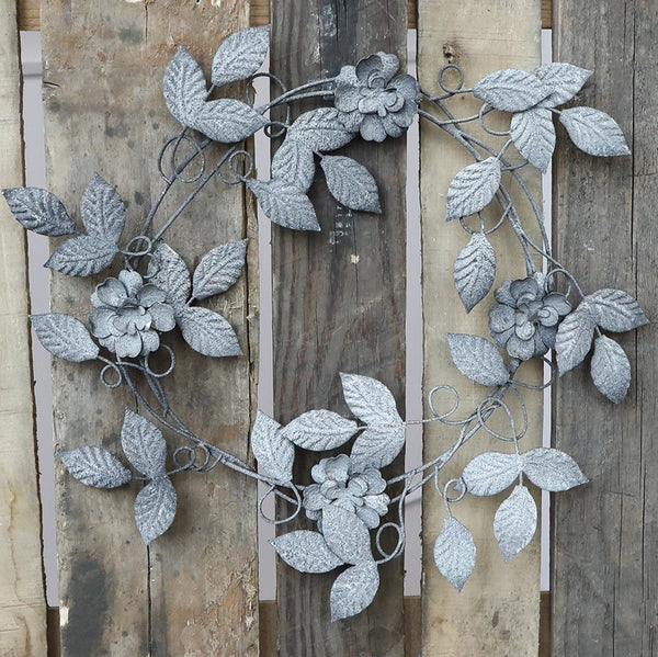 Antique Zinc Floral Wreath