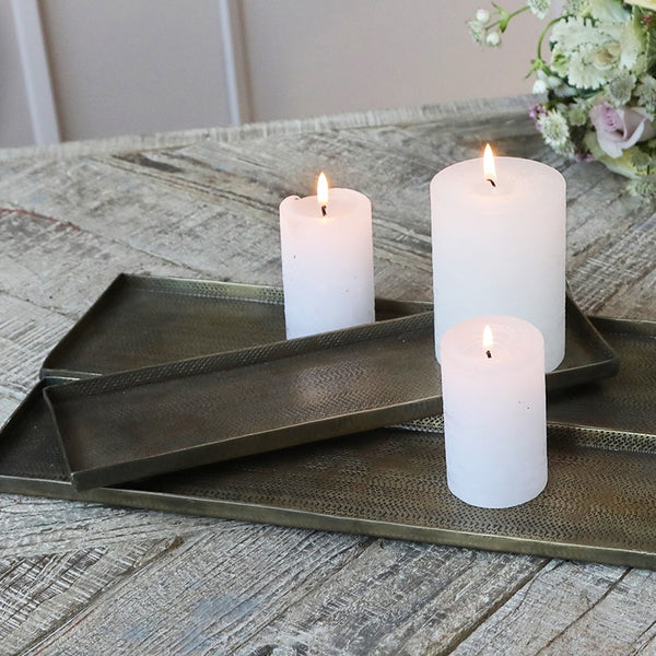 Set of Three Antiqued Brass Rectangular Candle Trays