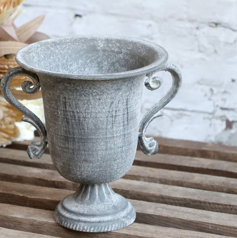 Small Decorative Antique Zinc Flowerpot or Planter