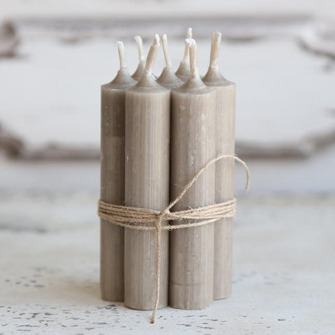 Bundle of Short Dinner Candles - Flax