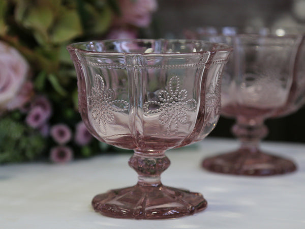 Glass Dessert or Tea Plates and Pudding Bowls - Dusky Pink - Greige - Home & Garden - Chiswick, London W4
