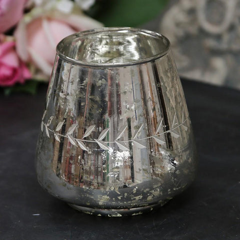 Antiqued Silver Glass Tealight Holder with Etching
