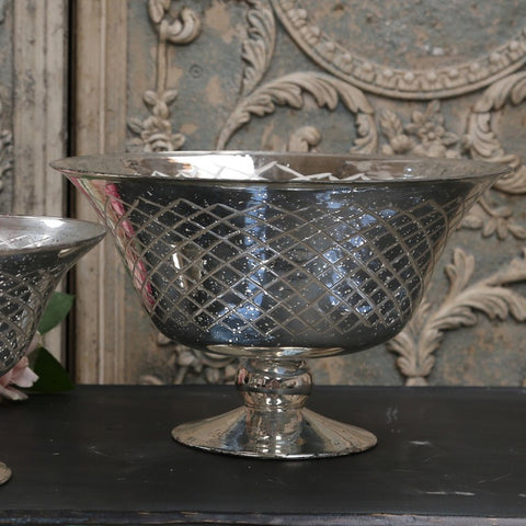 large antique silver footed bowl with diamond engraved pattern