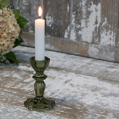 Olive Glass Candlesticks and Tealight Holder