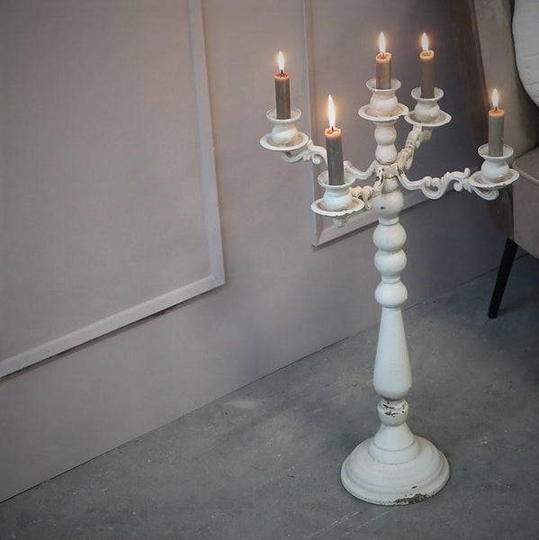 Tall Antique Cream Metal Five Arm Candelabra