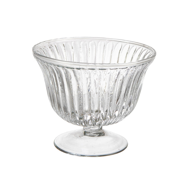 Ribbed Glass Footed Dessert Bowl