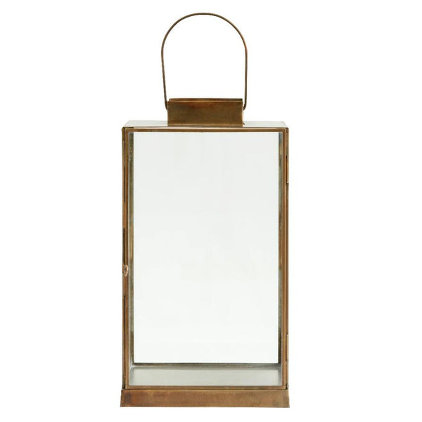 Antiqued Brass and Glass Flat Topped Lantern - Greige - Home & Garden - Chiswick, London W4