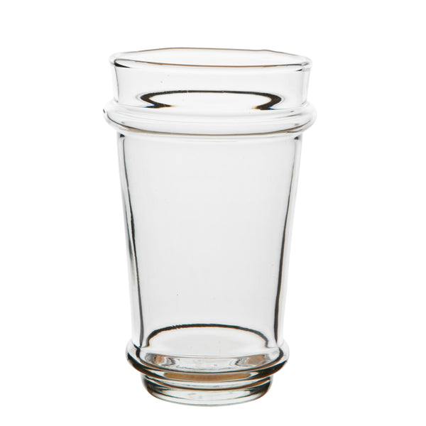 Large mouth blown stacking beer or water glass