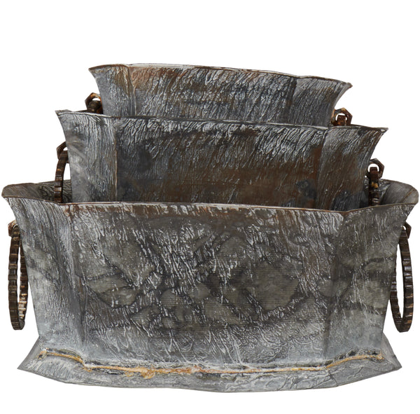 Antiqued Galvanised Decorative Planter - Set of Three - Greige - Home & Garden - Chiswick, London W4