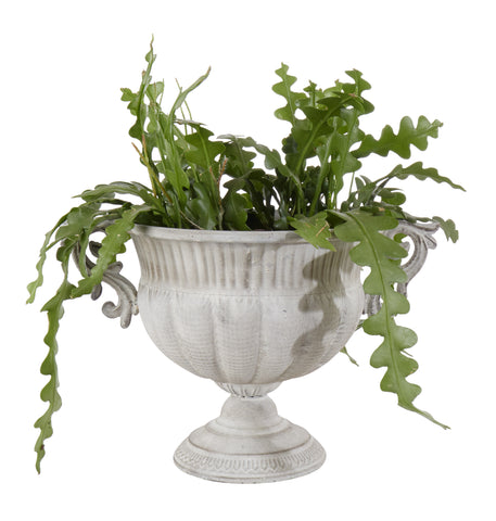 Distressed Metal Urn Plant Pot - Grey or Antique Gold Finish - Greige - Home & Garden - Chiswick, London W4