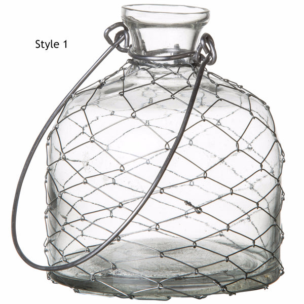 Hanging Glass Vase with lace wirework cover