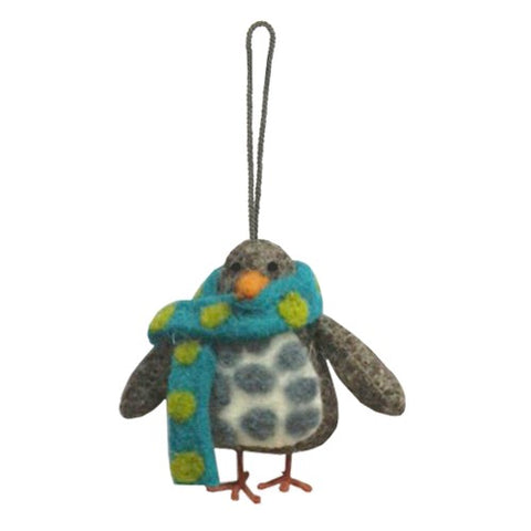 Felt Spotty Penguin Hanging Decoration by Fiona Walker