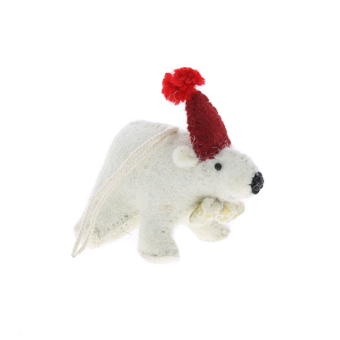 Felt Polar Bear Hanging Decoration by Fiona Walker