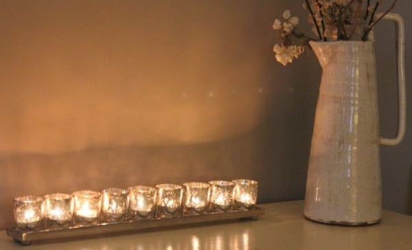Long Silver Tray with 7 or 9 Antique Silver Glass Tealight Holders - Greige - Home & Garden - Chiswick, London W4