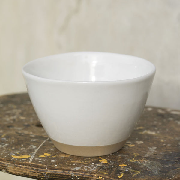Ceramic Rice Bowl small serving bowl natural with dipped white glaze