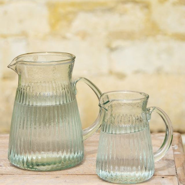 ribbed glass jug