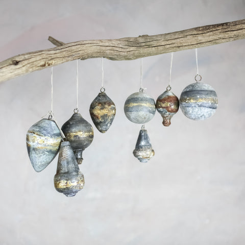Set of Four antique zinc and gold baubles