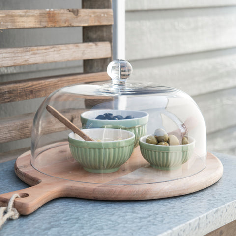 Acacia Wood Chopping Cheese Or Cake Board With Glass Dome