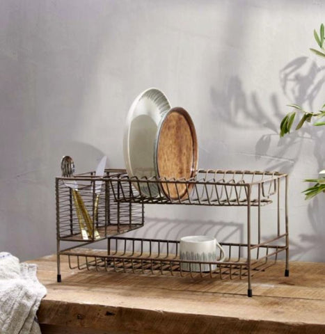 Metal Dish Rack with Aged Brass Finish