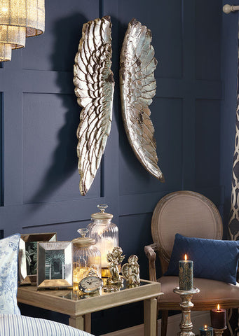 rustic antique silver angel wings wall art