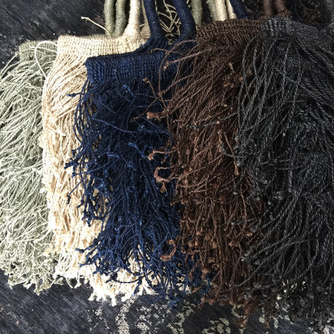 Funky Fringed Jute Bag - Greige - Home & Garden - Chiswick, London W4