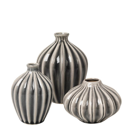 Three Mini Ceramic Vases - Broste Copenhagen - Amalie - Greige - Home & Garden - Chiswick, London W4