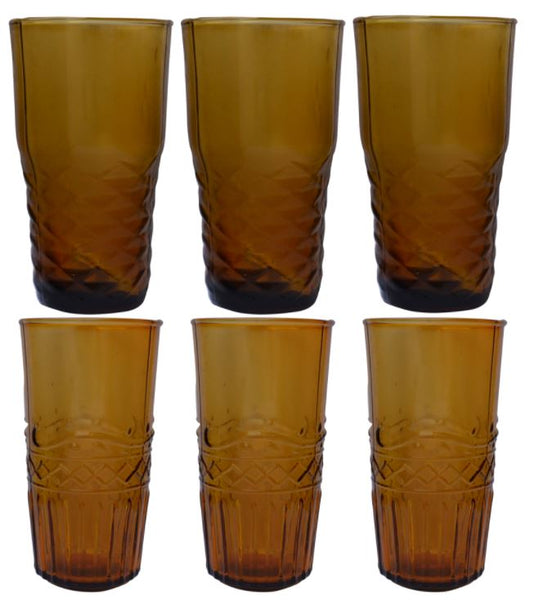 Set of Six Assorted Water Glasses - Pink or Amber - Greige - Home & Garden - Chiswick, London W4