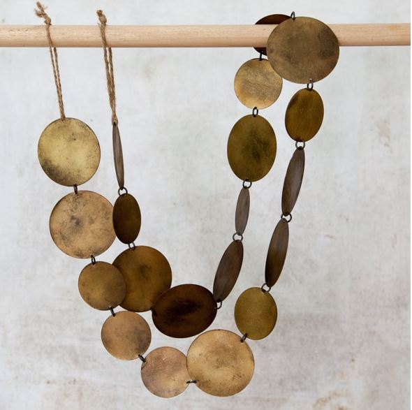 Antique Brass or Copper Disc Garland - Greige - Home & Garden - Chiswick, London W4
