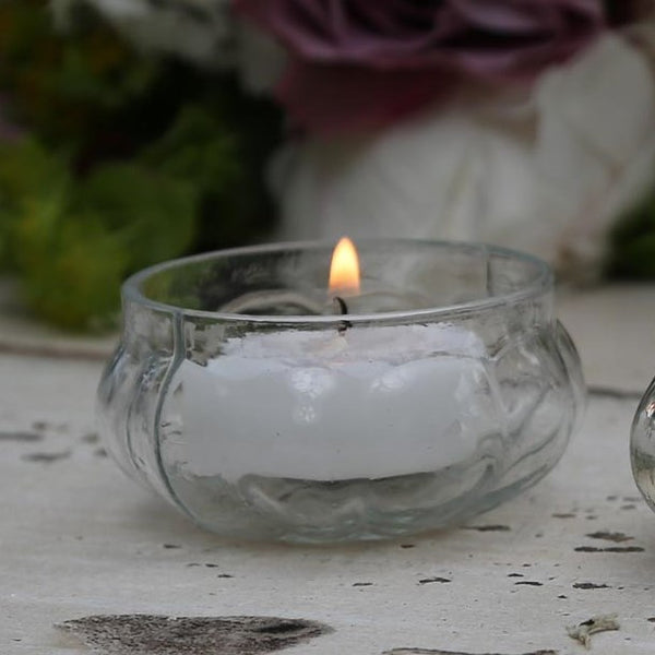 Clear Glass Tealight Holders (Set of 6) - Greige - Home & Garden - Chiswick, London W4