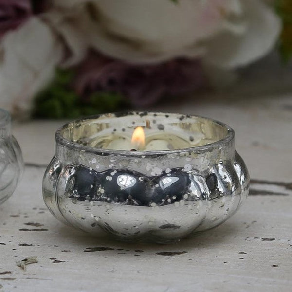 Tiny Antique Silver Glass Tea Light T-Light Holder