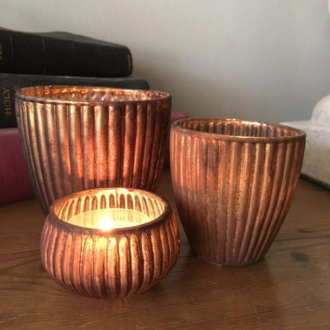 ribbed glass tealight holders in matt old gold
