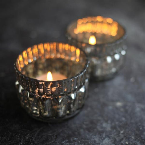 Silver Glass Tealight Holder