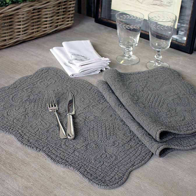 Quilted Cotton Placemat Antique Stone Or Natural Linen