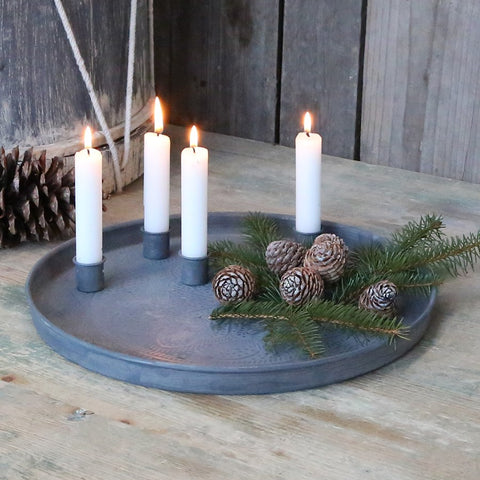 Antique Zinc Advent Tray with Magnetic Candle-holders - Greige - Home & Garden - Chiswick, London W4