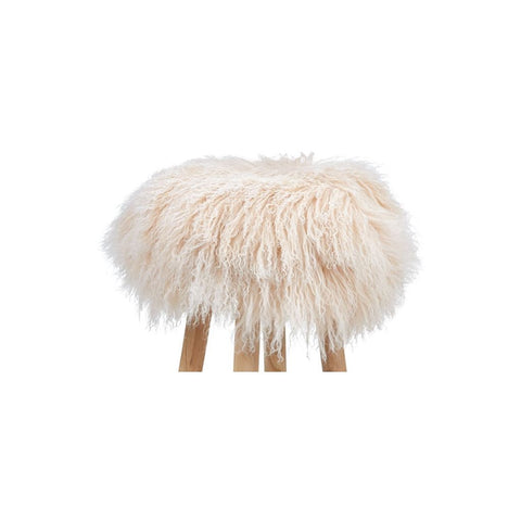 Tibetan Sheepskin Stool Cover Arctic Sunrise Taupe Beige Cream
