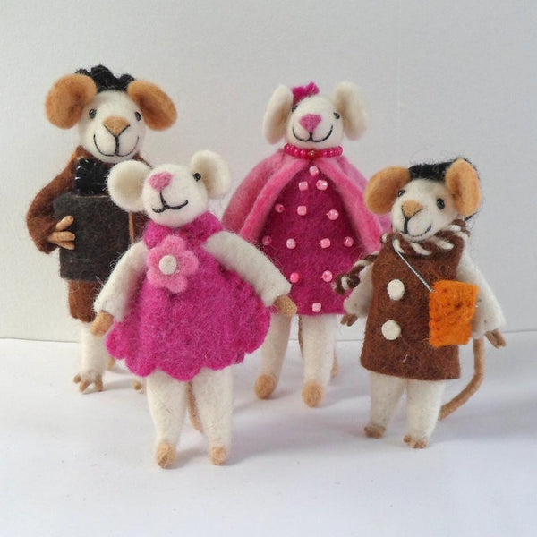 Handmade Standing Felt Mouse Family Fairtrade