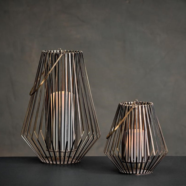 Conical Wire Lantern - Two Sizes - Greige - Home & Garden - Chiswick, London W4