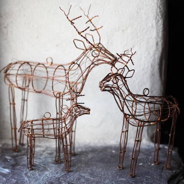 Wire Reindeer Family - Greige - Home & Garden - Chiswick, London W4