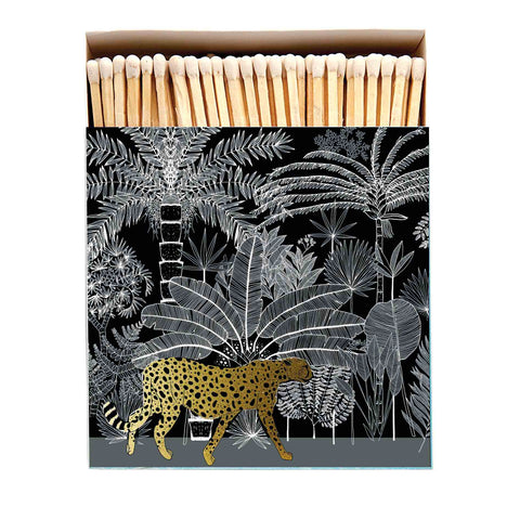 Long Matches in Large Luxury Letterpress Printed Matchbox Cheetah Black with Gold