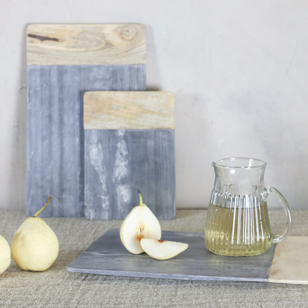 grey marble and mango wood platter chopping board