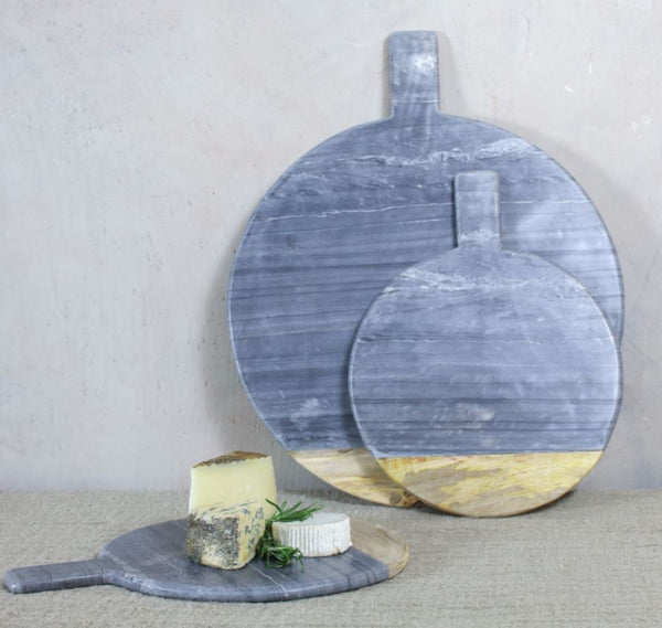 Large Round Grey Marble and Mango Wood Pizza Board