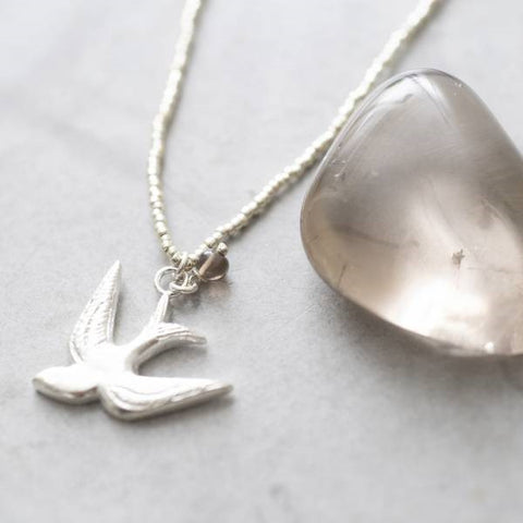 Paradise Smokey Quartz Swallow Silver Necklace - A Beautiful Story