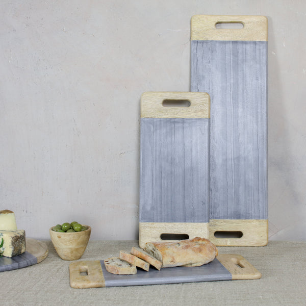 grey marble and mango wood serving platter with handles