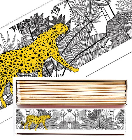 Extra Long Matches in Letterpress Printed Luxury Matchbox Cheetah