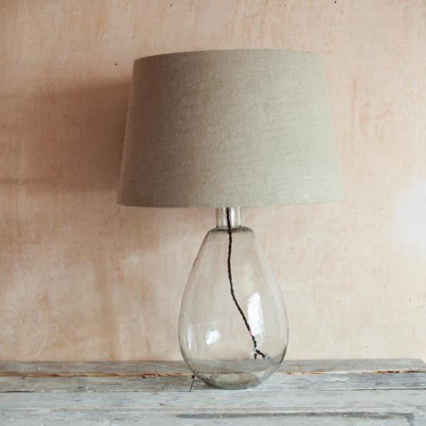 tall hand blown glass lamp with optional linen shade