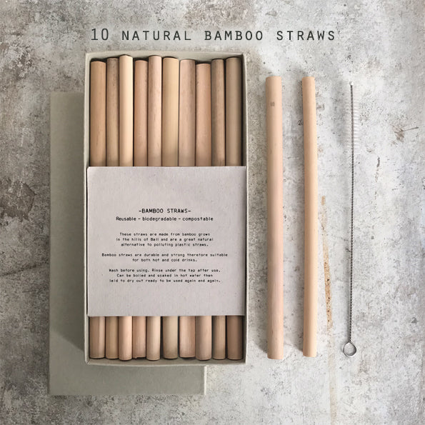 Box of Ten Natural Bamboo Drinking Straws - Greige - Home & Garden - Chiswick, London W4