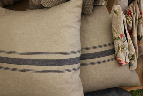 Large Linen Cushion - Bastille Stripes - Greige - Home & Garden - Chiswick, London W4